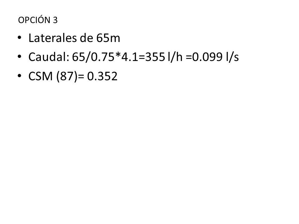 Laterales de 65m Caudal: 65/0.75*4.1=355 l/h =0.099 l/s CSM (87)= 0.352