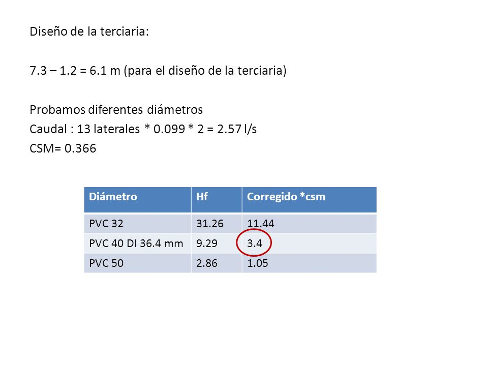 Diseño de la terciaria: 7.3 – 1.2 = 6.1 m (para el diseño de la terciaria) Probamos diferentes diámetros Caudal : 13 laterales * 0.099 * 2 = 2.57 l/s