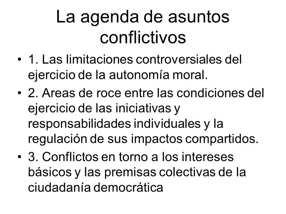 La agenda de asuntos conflictivos 1. Las limitaciones controversiales del ejercicio de la autonomía moral. 2. Areas de roce entre las condiciones del