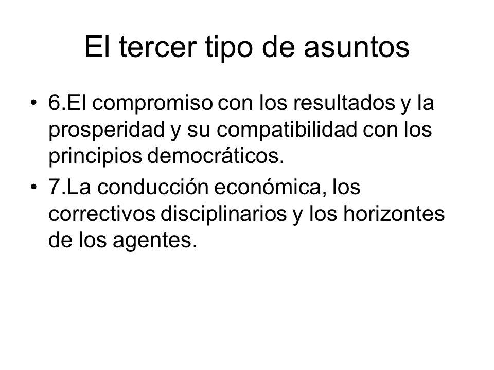 El tercer tipo de asuntos 6.El compromiso con los resultados y la prosperidad y su compatibilidad con los principios democráticos. 7.La conducción eco