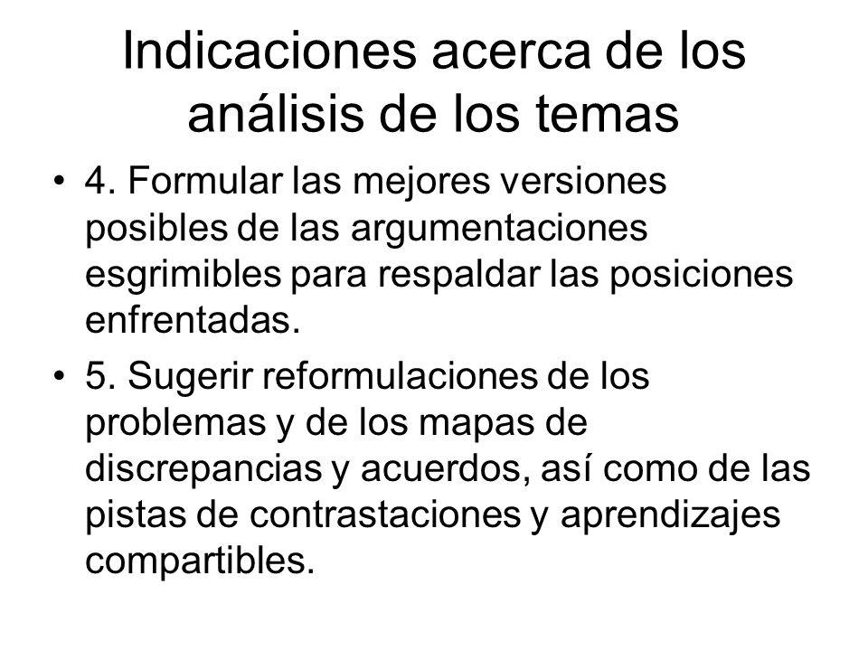 Indicaciones acerca de los análisis de los temas 4. Formular las mejores versiones posibles de las argumentaciones esgrimibles para respaldar las posi