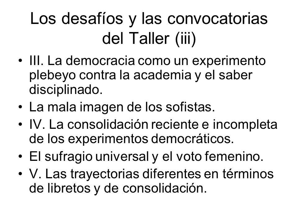 Los desafíos y las convocatorias del Taller (iii) III. La democracia como un experimento plebeyo contra la academia y el saber disciplinado. La mala i