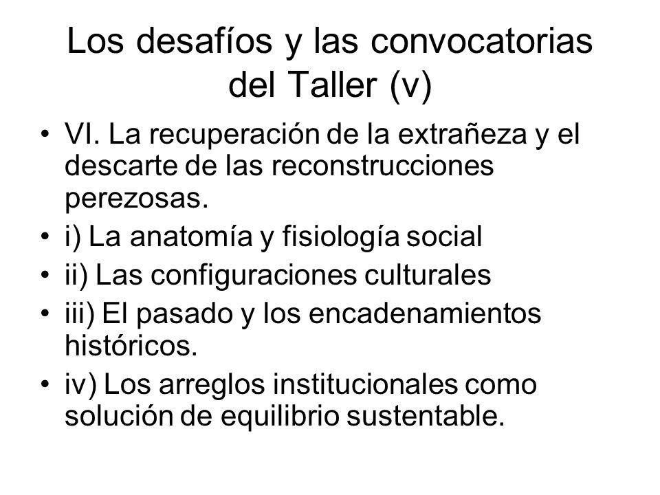 Los desafíos y las convocatorias del Taller (v) VI.