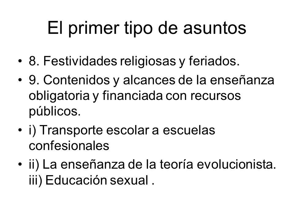 El primer tipo de asuntos 8. Festividades religiosas y feriados. 9. Contenidos y alcances de la enseñanza obligatoria y financiada con recursos públic