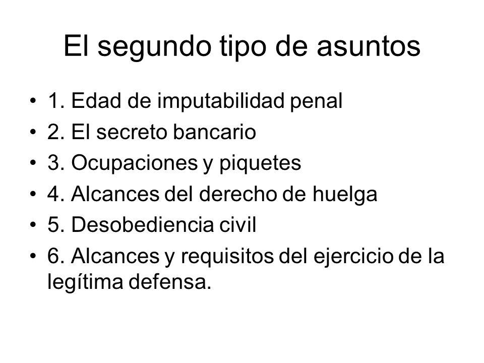 El segundo tipo de asuntos 1. Edad de imputabilidad penal 2. El secreto bancario 3. Ocupaciones y piquetes 4. Alcances del derecho de huelga 5. Desobe