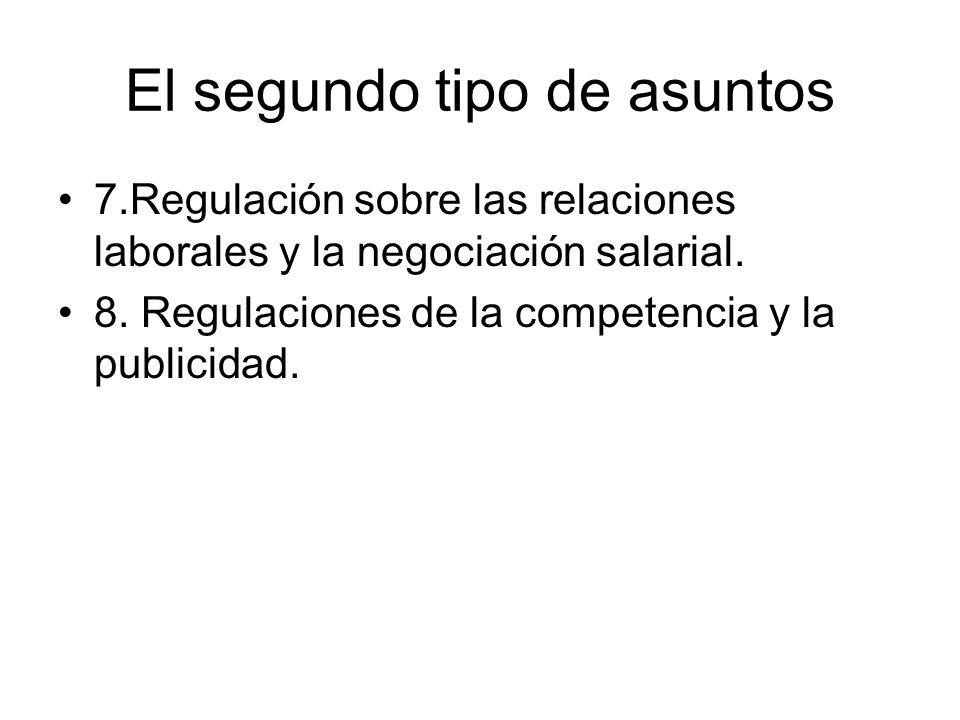 El segundo tipo de asuntos 7.Regulación sobre las relaciones laborales y la negociación salarial. 8. Regulaciones de la competencia y la publicidad.