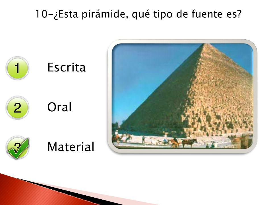 10-¿Esta pirámide, qué tipo de fuente es? Escrita Oral Material