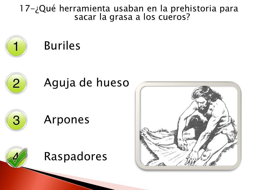 17-¿Qué herramienta usaban en la prehistoria para sacar la grasa a los cueros? Buriles Aguja de hueso Arpones Raspadores