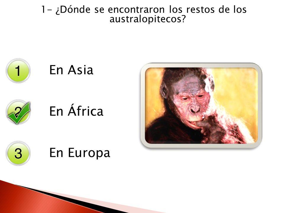 1- ¿Dónde se encontraron los restos de los australopitecos? En Asia En África En Europa