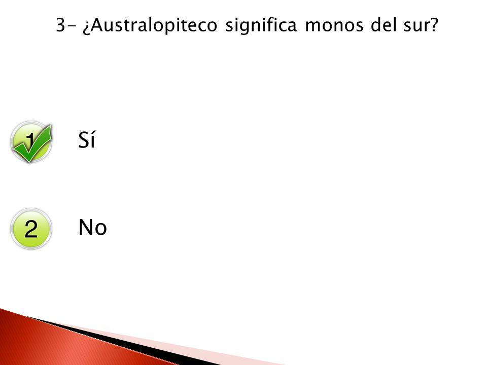 Sí No 3- ¿Australopiteco significa monos del sur?