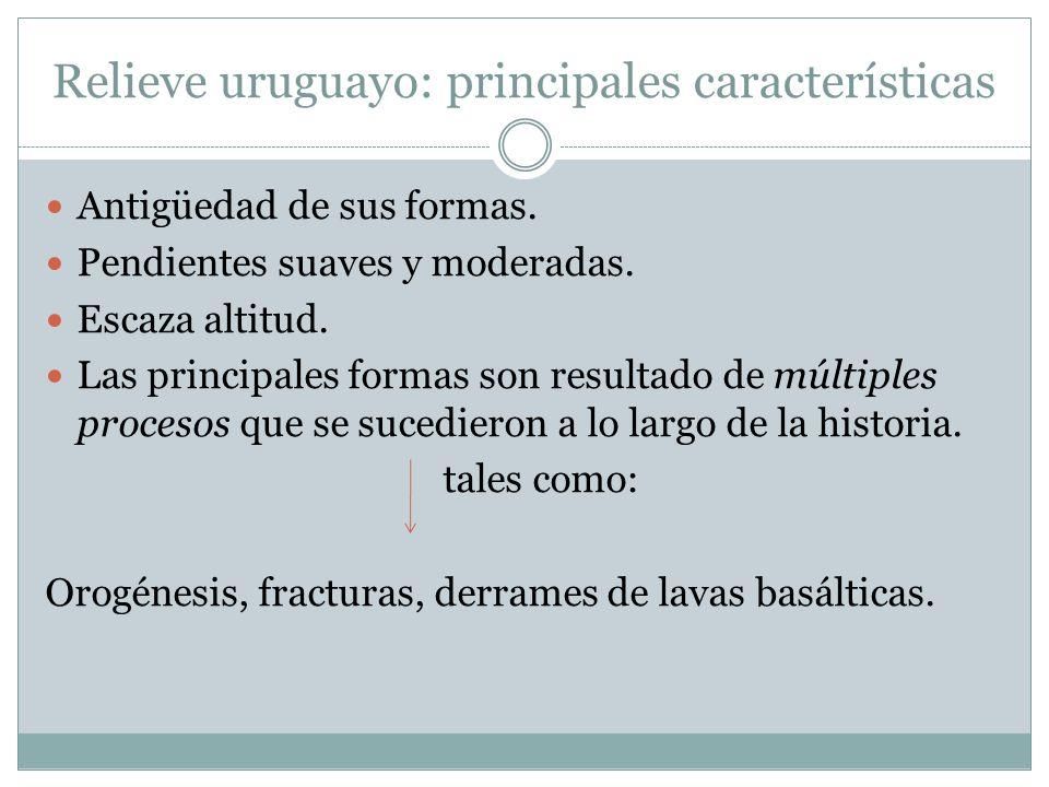 Relieve uruguayo: principales características Antigüedad de sus formas. Pendientes suaves y moderadas. Escaza altitud. Las principales formas son resu