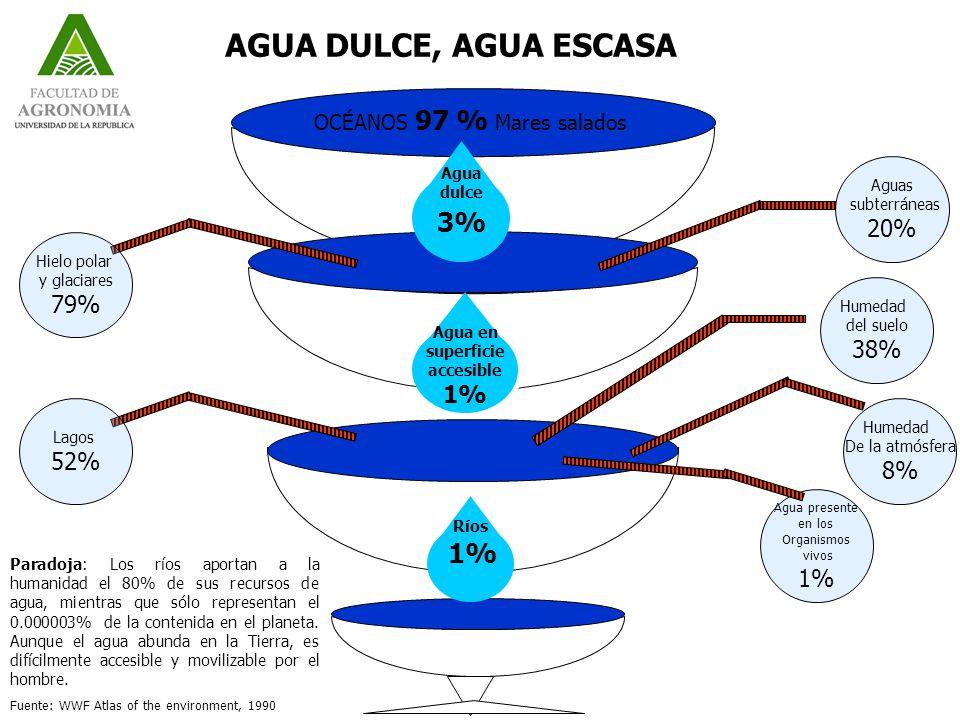 OCÉANOS 97 % Mares salados Agua dulce 3% Agua en superficie accesible 1% Ríos 1% Aguas subterráneas 20% Humedad del suelo 38% Humedad De la atmósfera 8% Agua presente en los Organismos vivos 1% Hielo polar y glaciares 79% Lagos 52% Paradoja: Los ríos aportan a la humanidad el 80% de sus recursos de agua, mientras que sólo representan el 0.000003% de la contenida en el planeta.