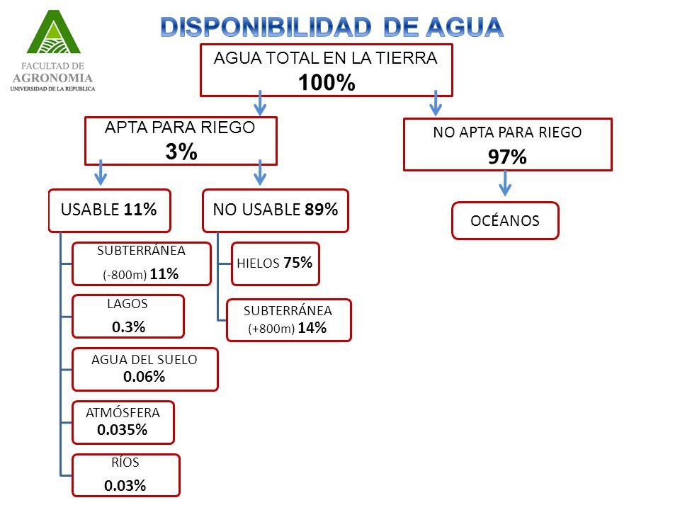 AGUA TOTAL EN LA TIERRA 100% APTA PARA RIEGO 3% NO APTA PARA RIEGO 97% USABLE 11% SUBTERRÁNEA (-800m) 11% LAGOS 0.3% AGUA DEL SUELO 0.06% ATMÓSFERA 0.035% RÍOS 0.03% NO USABLE 89% HIELOS 75% SUBTERRÁNEA (+800m) 14% OCÉANOS
