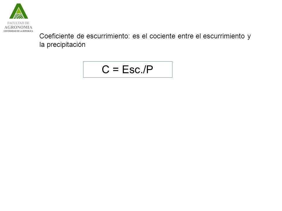 Coeficiente de escurrimiento: es el cociente entre el escurrimiento y la precipitación C = Esc./P