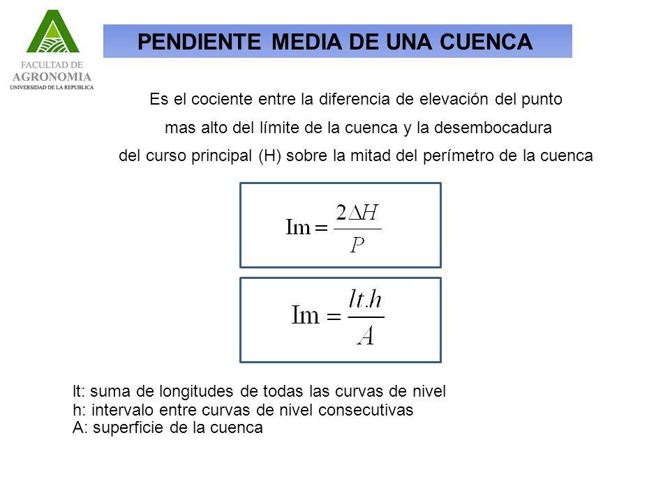 lt: suma de longitudes de todas las curvas de nivel h: intervalo entre curvas de nivel consecutivas A: superficie de la cuenca Es el cociente entre la diferencia de elevación del punto mas alto del límite de la cuenca y la desembocadura del curso principal (H) sobre la mitad del perímetro de la cuenca PENDIENTE MEDIA DE UNA CUENCA