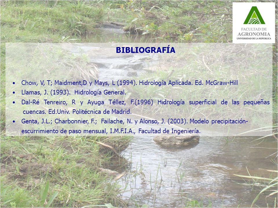 BIBLIOGRAFÍA Chow, V, T; Maidment,D y Mays, L (1994).