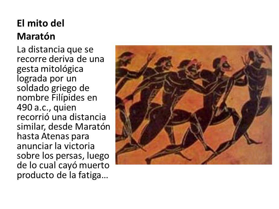 La Maratón Ésta prueba fue incluida por primera vez en el calendario oficial en los juegos de Atenas en 1896 para la rama masculina, y en 1984 para la rama femenina en los juegos olímpicos de Los Ángeles de 1986.