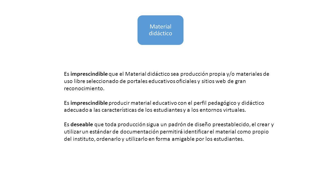 Es imprescindible que el Material didáctico sea producción propia y/o materiales de uso libre seleccionado de portales educativos oficiales y sitios w