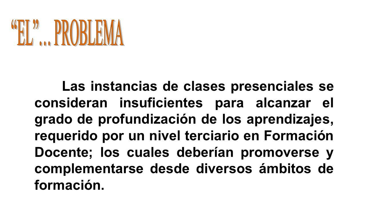 Las instancias de clases presenciales se consideran insuficientes para alcanzar el grado de profundización de los aprendizajes, requerido por un nivel