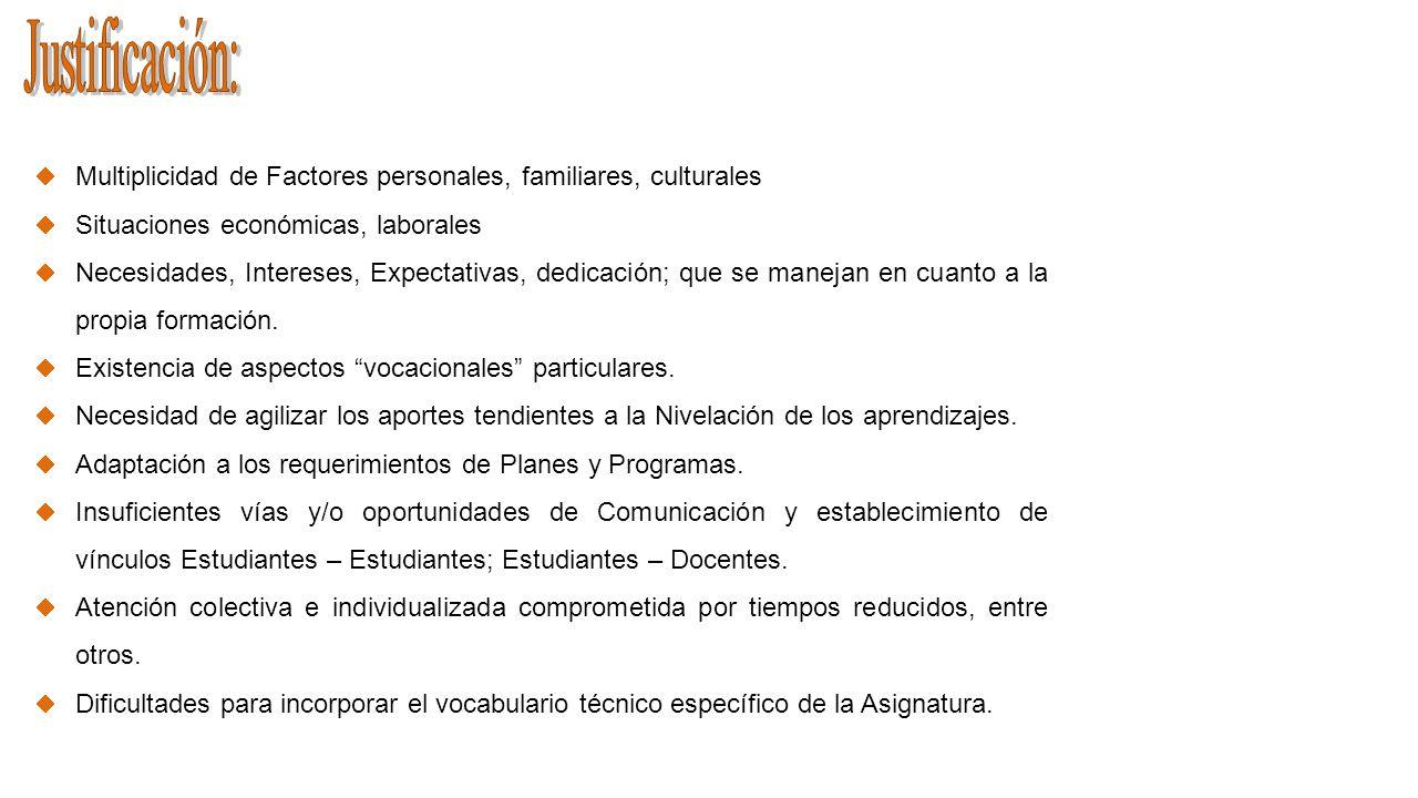 Multiplicidad de Factores personales, familiares, culturales Situaciones económicas, laborales Necesidades, Intereses, Expectativas, dedicación; que s