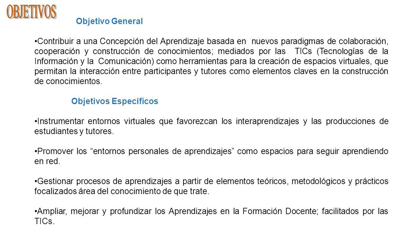 Objetivo General Contribuir a una Concepción del Aprendizaje basada en nuevos paradigmas de colaboración, cooperación y construcción de conocimientos;