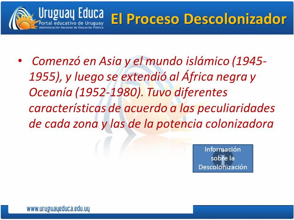 El Proceso Descolonizador Comenzó en Asia y el mundo islámico (1945- 1955), y luego se extendió al África negra y Oceanía (1952-1980). Tuvo diferentes