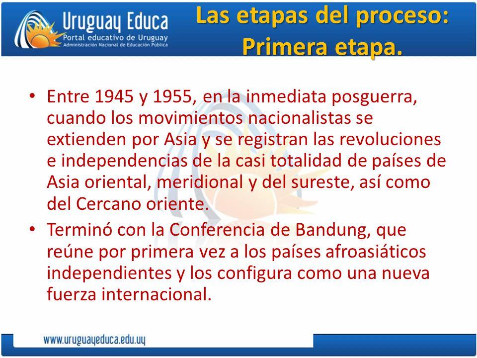 Las etapas del proceso: Primera etapa. Entre 1945 y 1955, en la inmediata posguerra, cuando los movimientos nacionalistas se extienden por Asia y se r
