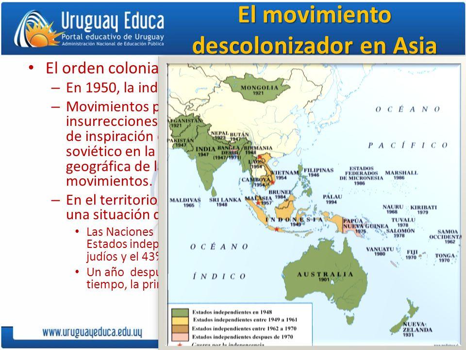El movimiento descolonizador en Asia El orden colonial se quebró primero en Asia. – En 1950, la independencia de Asia era casi total. – Movimientos po