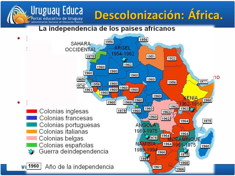 Descolonización: África. En África la Primera Guerra Mundial siembra las semillas de la independencia. – el retraso se debe a: las diferencias de civi