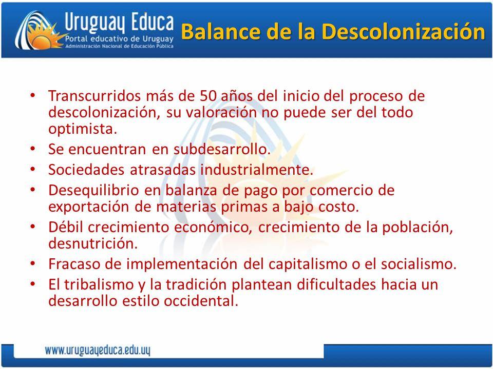 Balance de la Descolonización Transcurridos más de 50 años del inicio del proceso de descolonización, su valoración no puede ser del todo optimista. S