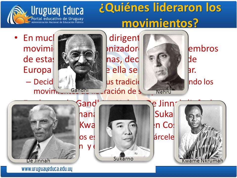 ¿Quiénes lideraron los movimientos? En muchos casos, los dirigentes de los movimientos descolonizadores fueron miembros de estas elites indígenas, dec