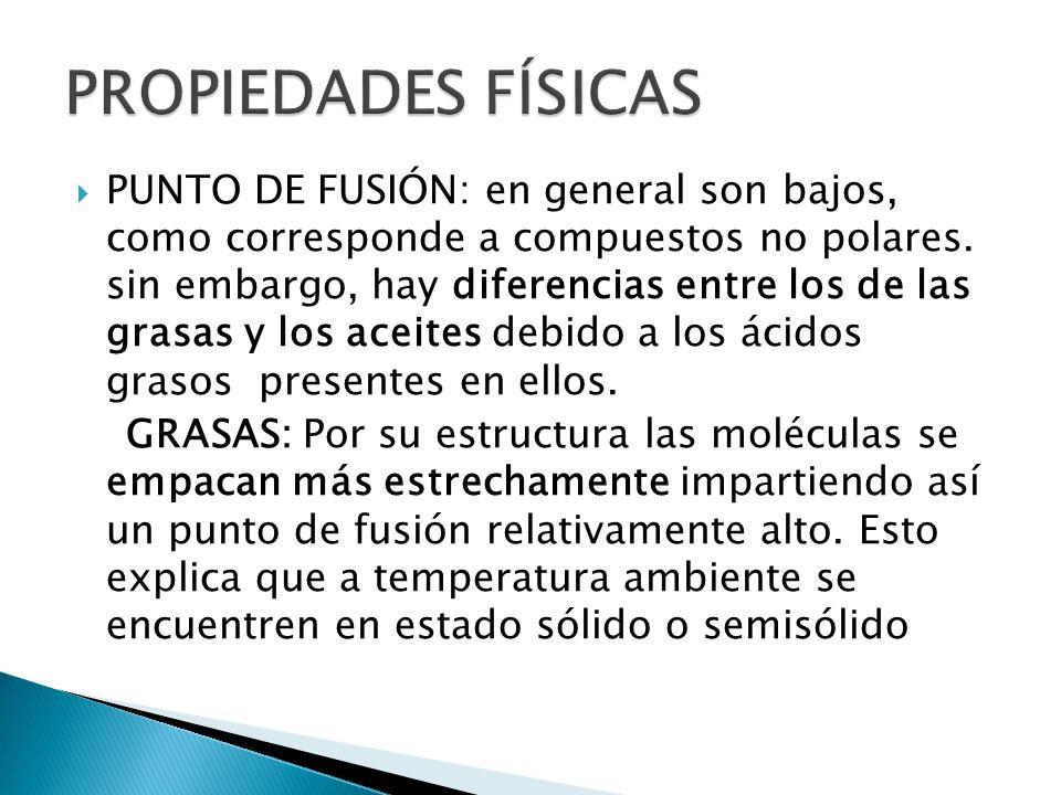 PUNTO DE FUSIÓN: en general son bajos, como corresponde a compuestos no polares. sin embargo, hay diferencias entre los de las grasas y los aceites de