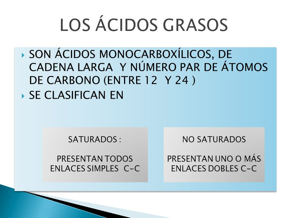 SON ÁCIDOS MONOCARBOXÍLICOS, DE CADENA LARGA Y NÚMERO PAR DE ÁTOMOS DE CARBONO (ENTRE 12 Y 24 ) SE CLASIFICAN EN SON ÁCIDOS MONOCARBOXÍLICOS, DE CADEN