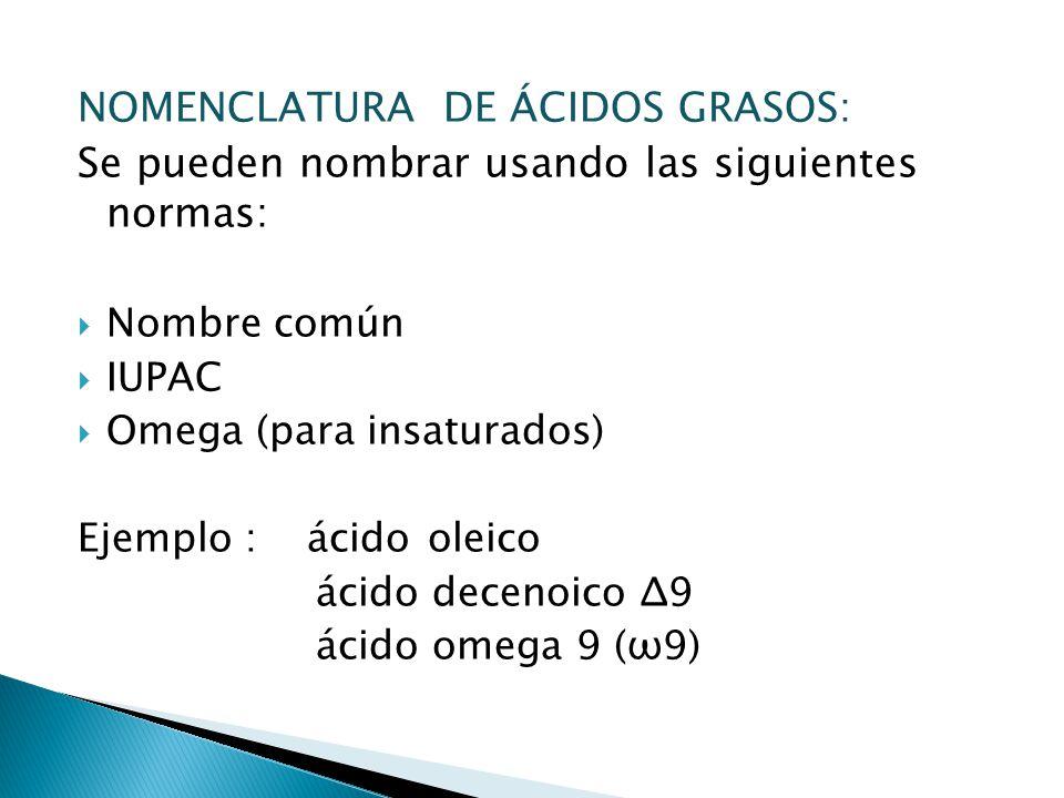 NOMENCLATURA DE ÁCIDOS GRASOS: Se pueden nombrar usando las siguientes normas: Nombre común IUPAC Omega (para insaturados) Ejemplo : ácido oleico ácid