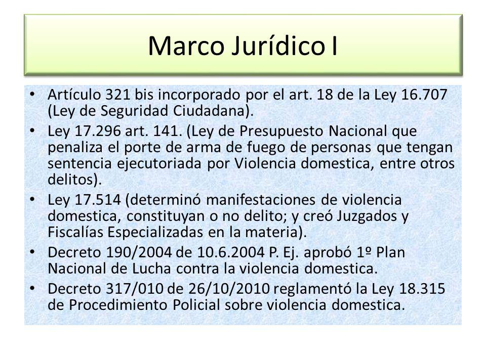 Marco Jurídico I Artículo 321 bis incorporado por el art. 18 de la Ley 16.707 (Ley de Seguridad Ciudadana). Ley 17.296 art. 141. (Ley de Presupuesto N