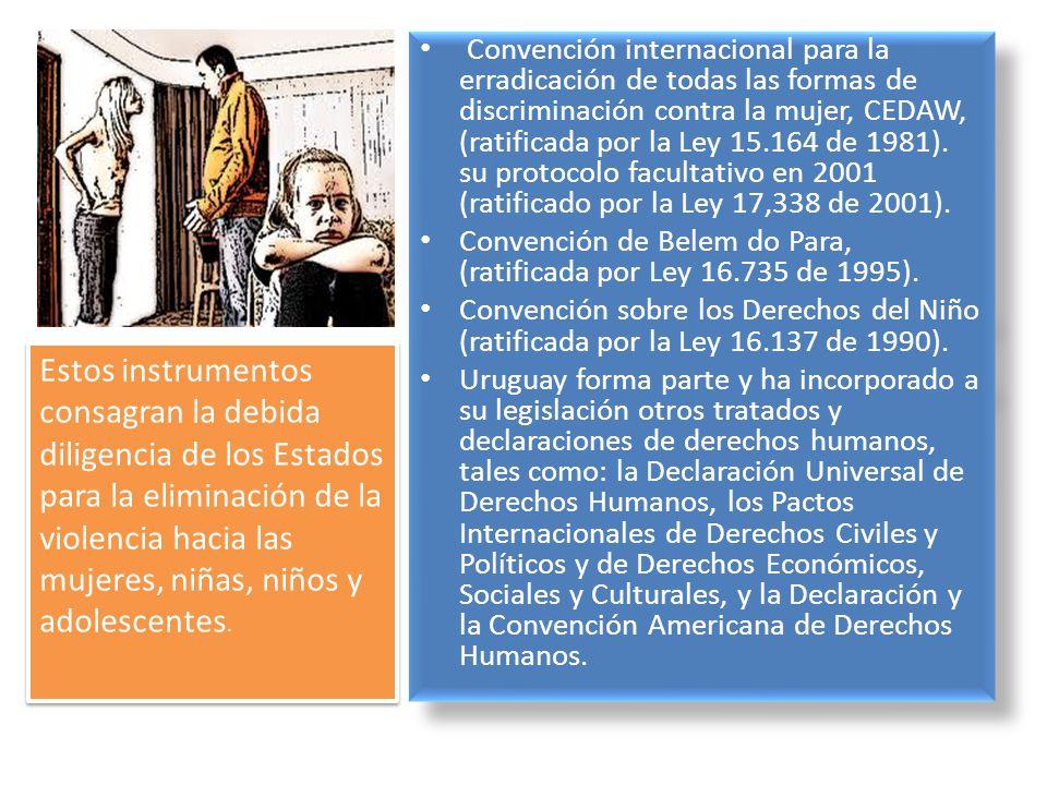 Convención internacional para la erradicación de todas las formas de discriminación contra la mujer, CEDAW, (ratificada por la Ley 15.164 de 1981). su