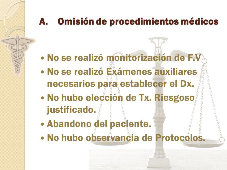 A.Omisión de procedimientos médicos No se realizó monitorización de F.V No se realizó Exámenes auxiliares necesarios para establecer el Dx.