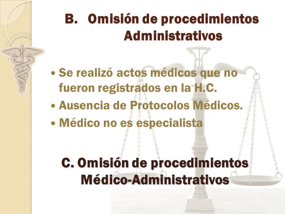 B.Omisión de procedimientos Administrativos Se realizó actos médicos que no fueron registrados en la H.C.