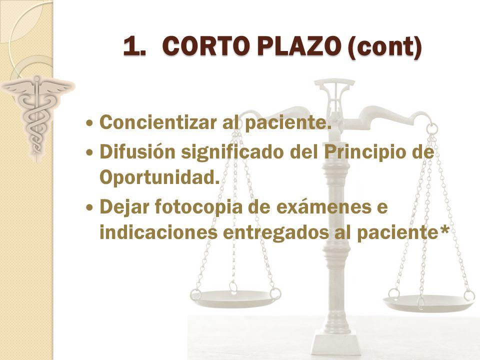 1.CORTO PLAZO (cont) Concientizar al paciente.Difusión significado del Principio de Oportunidad.