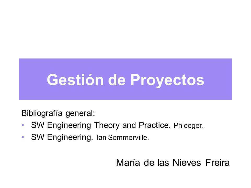 Gestión de Proyectos Bibliografía general: SW Engineering Theory and Practice.