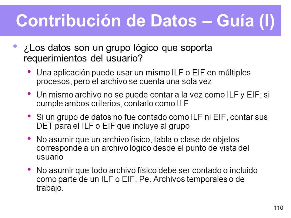 110 Contribución de Datos – Guía (I) ¿Los datos son un grupo lógico que soporta requerimientos del usuario.