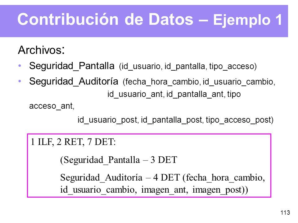 113 Contribución de Datos – Ejemplo 1 Archivos : Seguridad_Pantalla (id_usuario, id_pantalla, tipo_acceso) Seguridad_Auditoría (fecha_hora_cambio, id_usuario_cambio, id_usuario_ant, id_pantalla_ant, tipo acceso_ant, id_usuario_post, id_pantalla_post, tipo_acceso_post) 1 ILF, 2 RET, 7 DET: (Seguridad_Pantalla – 3 DET Seguridad_Auditoría – 4 DET (fecha_hora_cambio, id_usuario_cambio, imagen_ant, imagen_post))