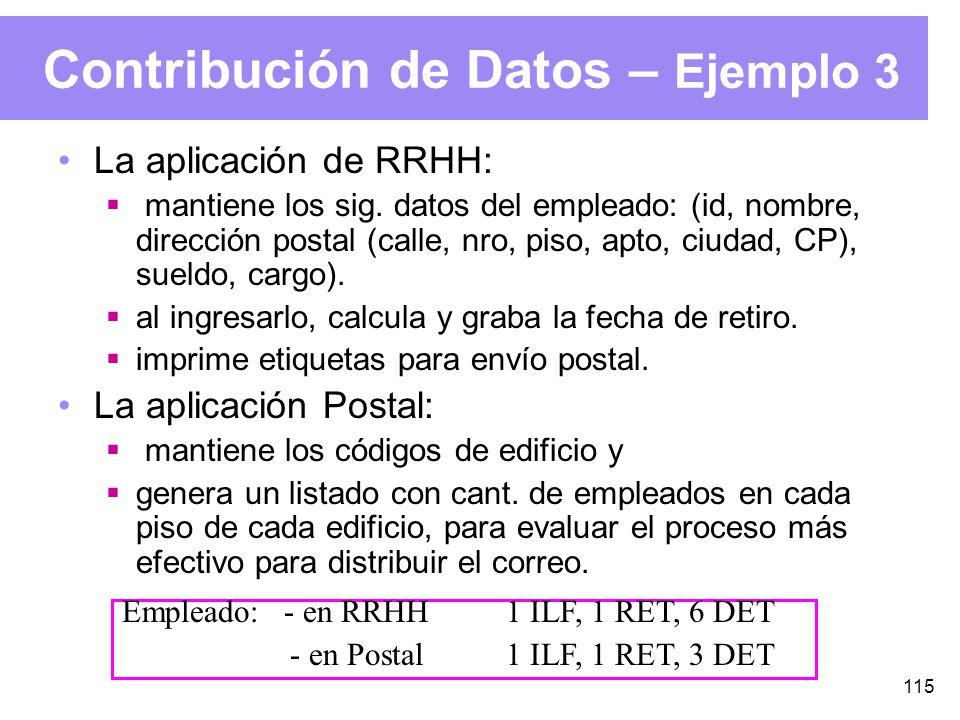 115 Contribución de Datos – Ejemplo 3 La aplicación de RRHH: mantiene los sig.