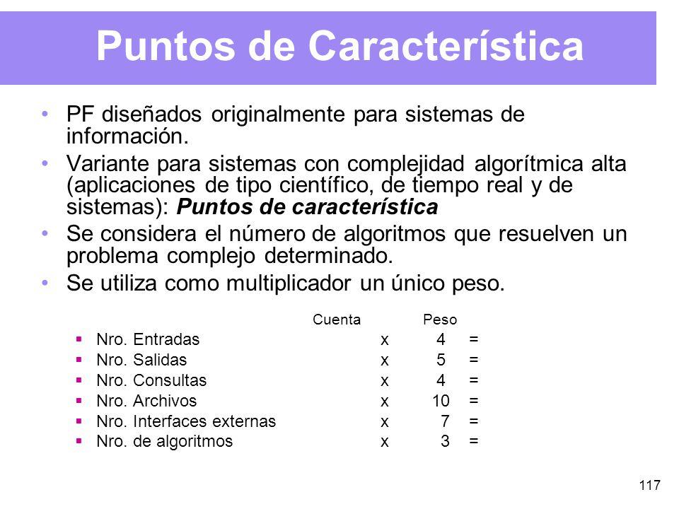 117 Puntos de Característica PF diseñados originalmente para sistemas de información.
