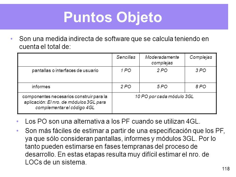 118 Puntos Objeto Son una medida indirecta de software que se calcula teniendo en cuenta el total de: SencillasModeradamente complejas Complejas pantallas o interfaces de usuario1 PO2 PO3 PO informes2 PO5 PO8 PO componentes necesarios construir para la aplicación: El nro.