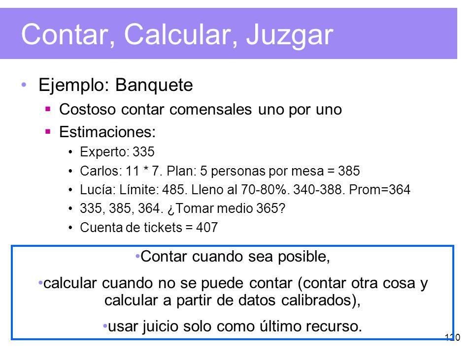 120 Contar, Calcular, Juzgar Ejemplo: Banquete Costoso contar comensales uno por uno Estimaciones: Experto: 335 Carlos: 11 * 7.