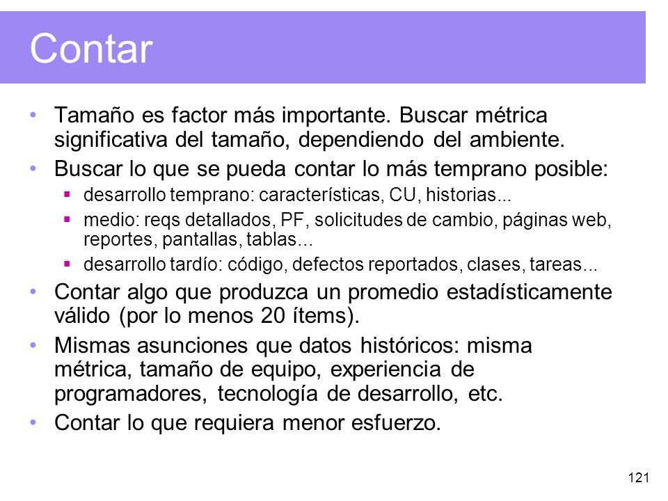 121 Contar Tamaño es factor más importante.