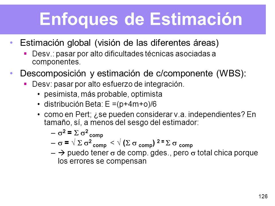 126 Enfoques de Estimación Estimación global (visión de las diferentes áreas) Desv.: pasar por alto dificultades técnicas asociadas a componentes.