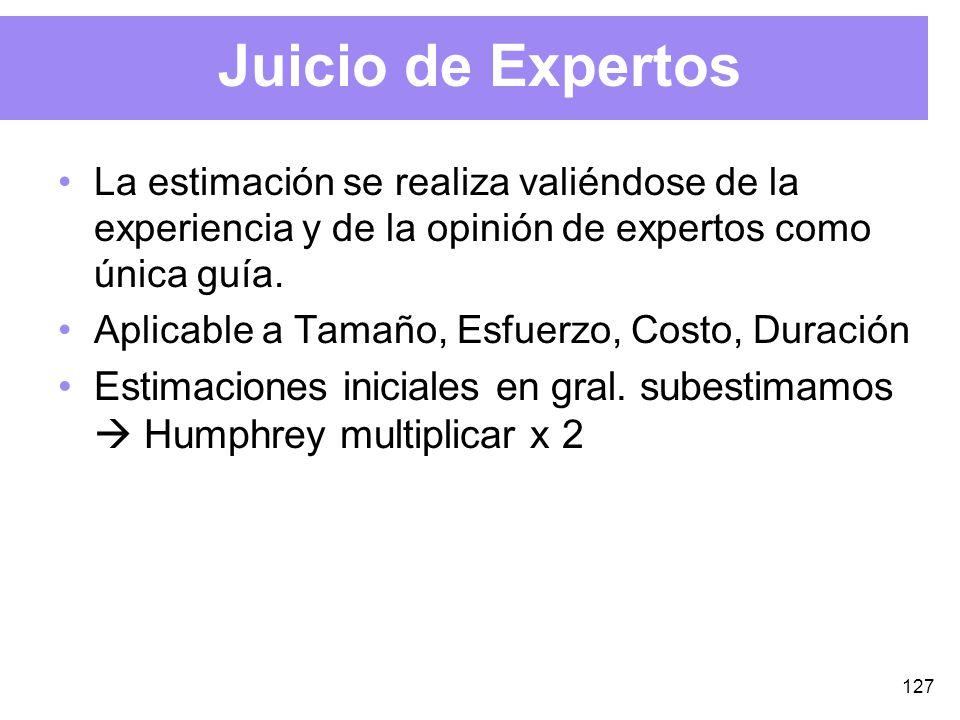 127 Juicio de Expertos La estimación se realiza valiéndose de la experiencia y de la opinión de expertos como única guía.