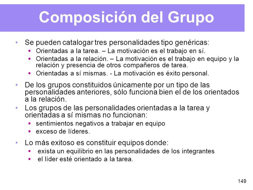 149 Composición del Grupo Se pueden catalogar tres personalidades tipo genéricas: Orientadas a la tarea.